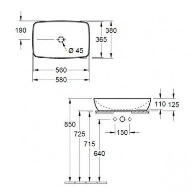 Pastatomas ant stalviršio praustuvas Villeroy&Boch Artis 58x38 cm 3