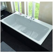 Plieninė vonia Kaldewei Asymmetric Duo ir sifonas su emaliuotais dangteliais