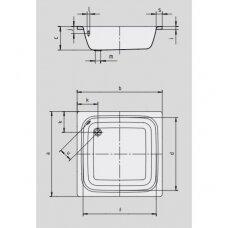 Plieninis dušo padėklas Kaldewei Sanidusch (dydžių pasirinkimas)