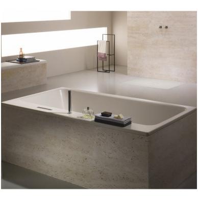 Plieninė vonia Kaldewei Asymmetric Duo ir sifonas su emaliuotais dangteliais 2