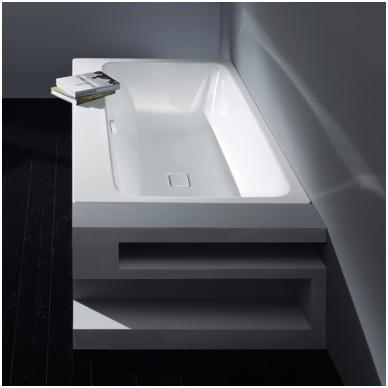 Plieninė vonia Kaldewei Asymmetric Duo ir sifonas su emaliuotais dangteliais 3