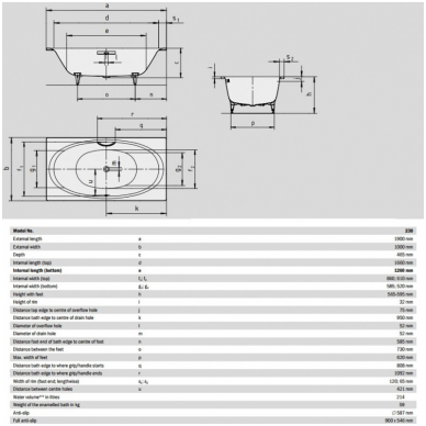 Plieninė vonia Kaldewei Ellipsio Duo 190x100 3