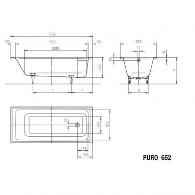 Plieninė vonia Kaldewei Puro 3