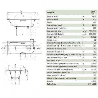 Plieninė vonia Kaldewei Saniform Plus plieno storis 3,5 mm 5