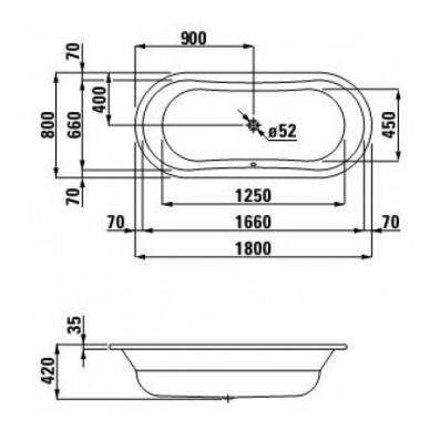 Plieninė vonia Laufen Thalium Oval 180x80 2