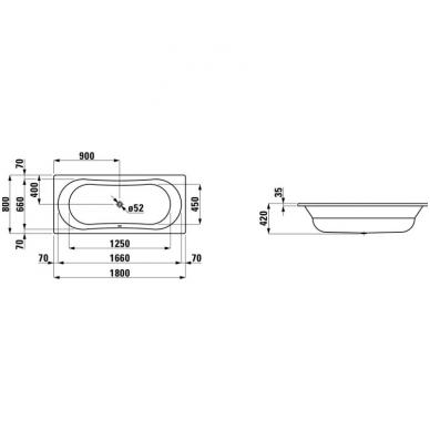 Plieninė vonia Laufen Thallium 180x80 3