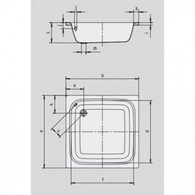 Plieninis dušo padėklas Kaldewei Sanidusch (dydžių pasirinkimas) 2
