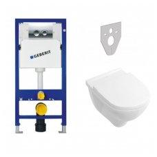 Potinkinio rėmo Geberit su chromuotu mygtuku ir Villeroy & Boch O.Novo WC komplektas
