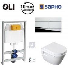 Potinkinio rėmo Oli 74 su chromuotu Slim klavišu ir Idea WC su soft close komplektas