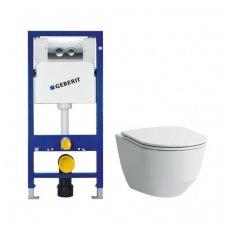 Potinkinio WC rėmo Geberit 4in1 ir pakabinamo klozeto Laufen Pro New su plonu lėtaeigiu dangčiu komplektas