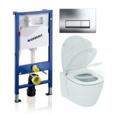 Potinkinio WC rėmo Geberit ir klozeto Ideal Standard Connect Aquablade su lėtaeigiu dangčiu komplektas