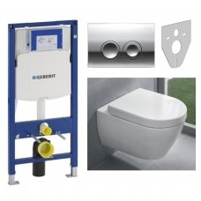 Potinkinio WC rėmo Geberit ir klozeto Villeroy & Boch Subway 2.0 komplektas