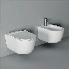 Potinkinio WC rėmo Geberit 4in1 ir pakabinamo klozeto Alice Ceramica Unica Rimless su plonu lėtaeigiu dangčiu komplektas