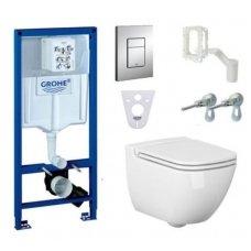Potinkinio WC rėmo Grohe ir klozeto Cersanit Caspia Clean-on su plonu lėtaeigiu dangčiu komplektas