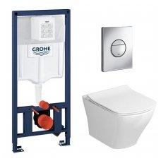 Potinkinio WC rėmo Grohe Rapid SL 4in1 ir pakabinamo klozeto Ravak Classic Rimoff su plonu lėtaeigiu dangčiu komplektas