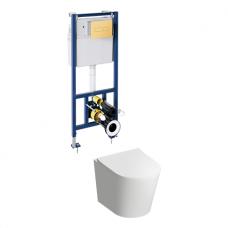 Potinkinio WC rėmo Sanit ir pakabinamo klozeto Omnires Tampa komplektas su aukso spalvos mygtuku