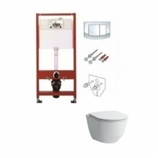 Potinkinio WC rėmo TECE ir klozeto Laufen PRO su plonu lėtaeigiu dangčiu komplektas