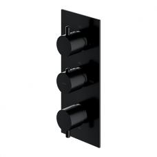 Potinkinis juodos spalvos termostatinis trijų taškų vonios/dušo maišytuvas Omnires Y1238/KROBL Y