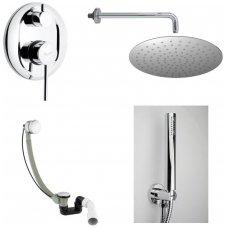 Potinkinis maišytuvas voniai su stacionaria dušo galva, rankiniu dušu ir vonią pripildančiu sifonu