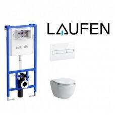 Potinkinis rėmas Laufen LIS CW1 su pakabinamu klozetu Laufen Pro New ir plonu lėtai užsidarančiu dangčiu bei klavišu (spalvų pasirinkimas)