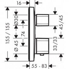 Potinkinis termostatinis maišytuvas 1 vandens taškui Hansgrohe Ecostat E