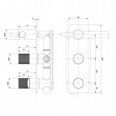Potinkinis vonios/dušo maišytuvas Omnires Contour CT8035/1CR
