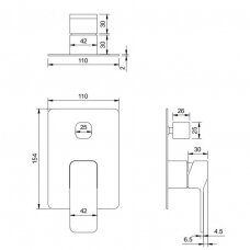 Potinkinis vonios/dušo maišytuvas Omnires Slide SL7735GR