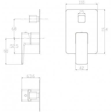 Potinkinė dušo sistema Omnires SYS PM10 2