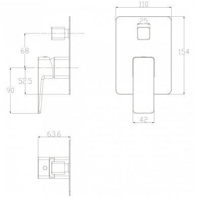 Juoda potinkinė dušo sistema Omnires SYSPM10 BL 2