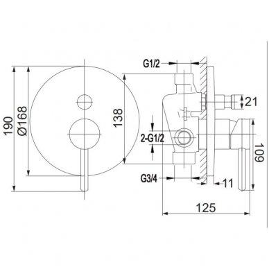Potinkinė dušo sistema Omnres SYS Y22 3