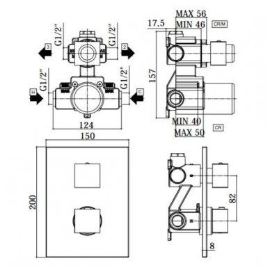 Potinkinė termostatinė dušo sistema Paffoni Level 2