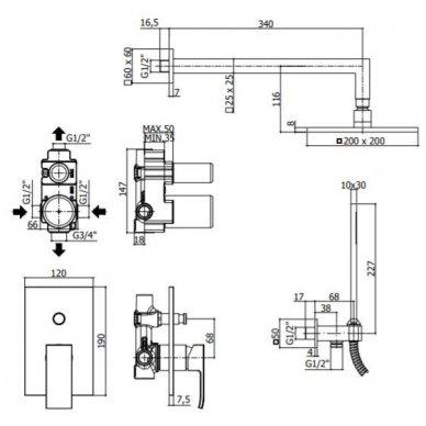 Potinkinė dušo sistema Paffoni Level 2