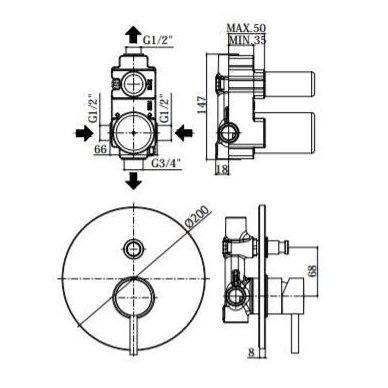 Potinkinė dušo sistema Paffoni Light (brushed nickel) 3