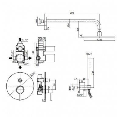 Potinkinė dušo sistema Paffoni Light (chrome) 2