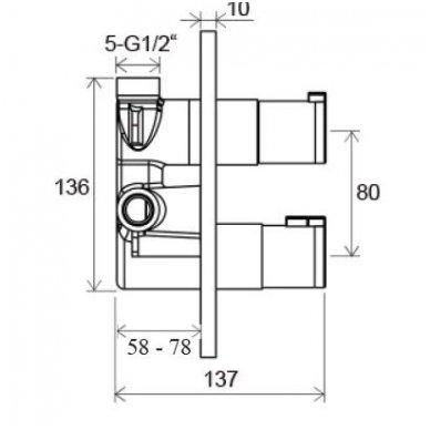 Potinkinė termostatinė dušo sistema Ravak Chrome 2