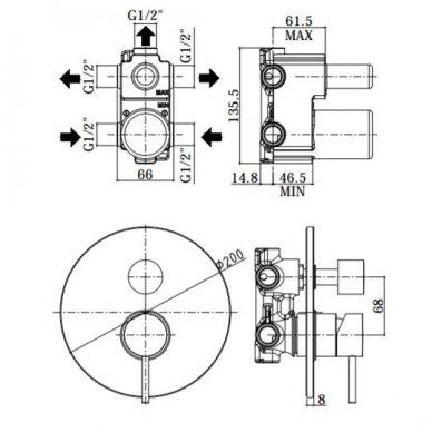 Trijų taškų potinkinė dušo sistema su snapu Paffoni Light (spalvų pasirinkimas) 3