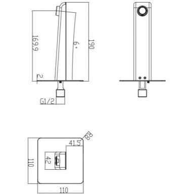 Potinkinė dušo sistema su snapu voniai Omnires Parma 4