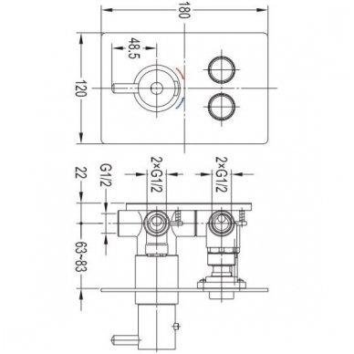 Potinkinė termostatinė dušo sistema Omnires SYSY40GCCR 5