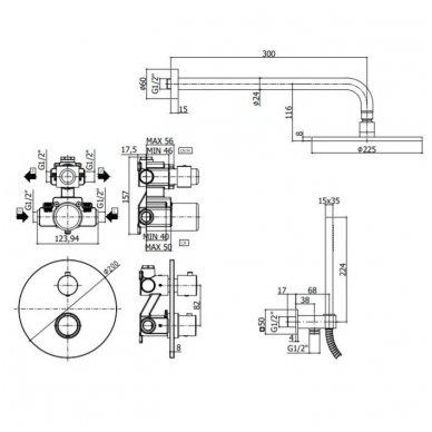 Potinkinė termostatinė dušo sistema Paffoni Light 2