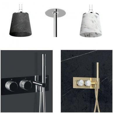 Potinkinė termostatinė dušo sistema su marmuro dušo galva ir LED apšvietimu 2