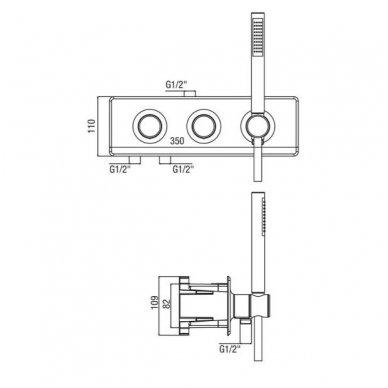 Potinkinė termostatinė dušo sistema su marmuro dušo galva ir LED apšvietimu 7