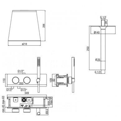 Potinkinė termostatinė dušo sistema su marmuro dušo galva ir LED apšvietimu 5