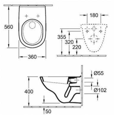 Potinkinio rėmo Geberit su chromuotu mygtuku ir Villeroy & Boch O.Novo WC komplektas 5