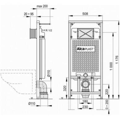 Potinkinio rėmo ir pakabinamo wc komplektas Alcaplast 4