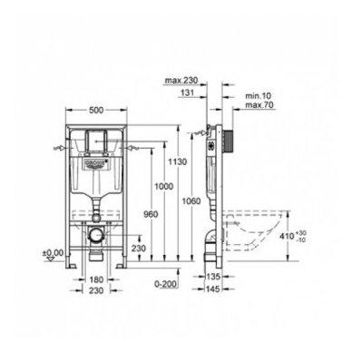 Potinkinio rėmo ir vandens nuleidimo mygtuko komplektas Grohe Rapid SL 3in1 6