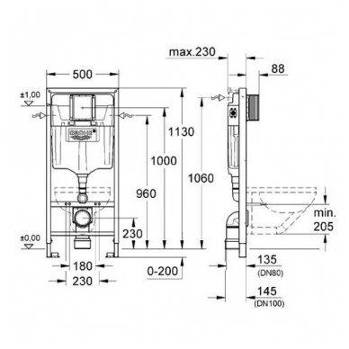 Potinkinio rėmo ir vandens nuleidimo mygtuko komplektas Grohe Rapid SL 3in1 4