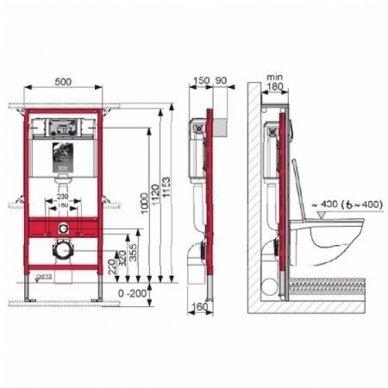 Potinkinio rėmo Tece komplektas su Gustavsberg Nautic klozetu ir soft close dangčiu 4