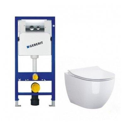 Potinkinio WC rėmo Geberit 4in1 ir pakabinamo klozeto Opoczno Urban Harmony su plonu lėtaeigiu dangčiu komplektas