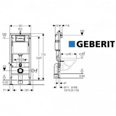 Potinkinio WC rėmo Geberit 4in1 ir pakabinamo klozeto Villeroy&Boch Subway 2.0 su plonu lėtaeigiu dangčiu komplektas 11