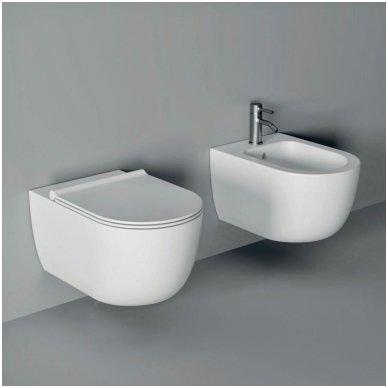 Potinkinio WC rėmo Geberit 4in1 ir pakabinamo klozeto Alice Ceramica Unica Rimless su plonu lėtaeigiu dangčiu komplektas 2